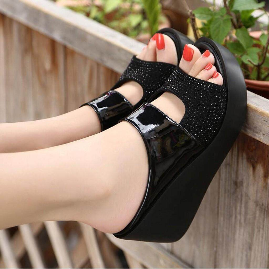 7c321c5804 nagostore Women Leisure Shoes Platform Wedges Fish Mouth Sandals Thick  Bottom Slippers