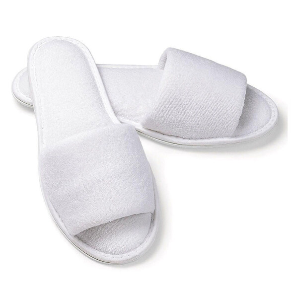 5 pair White Towelling Hotel Disposable Toe Slippers Terry SPA Guest Party Shoes giá rẻ