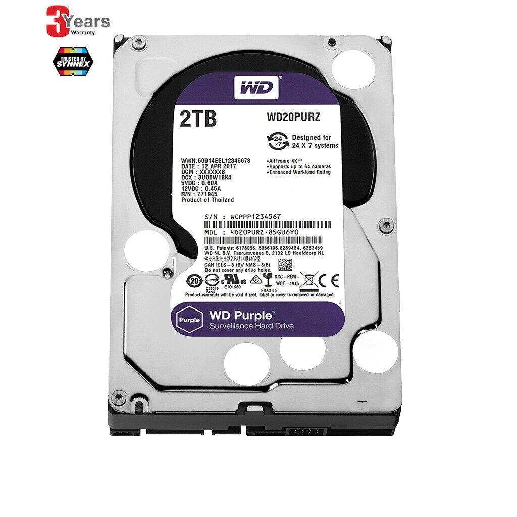 [ใช้โค้ด Clphfm10 สูงสุด 120บาท เมื่อซื้อครบ 800 บาท]  2.0tb Hdd (ฮาร์ดดิส) Wd Sata3 Purple (wd20purz) -3 ปี (by Synnex).
