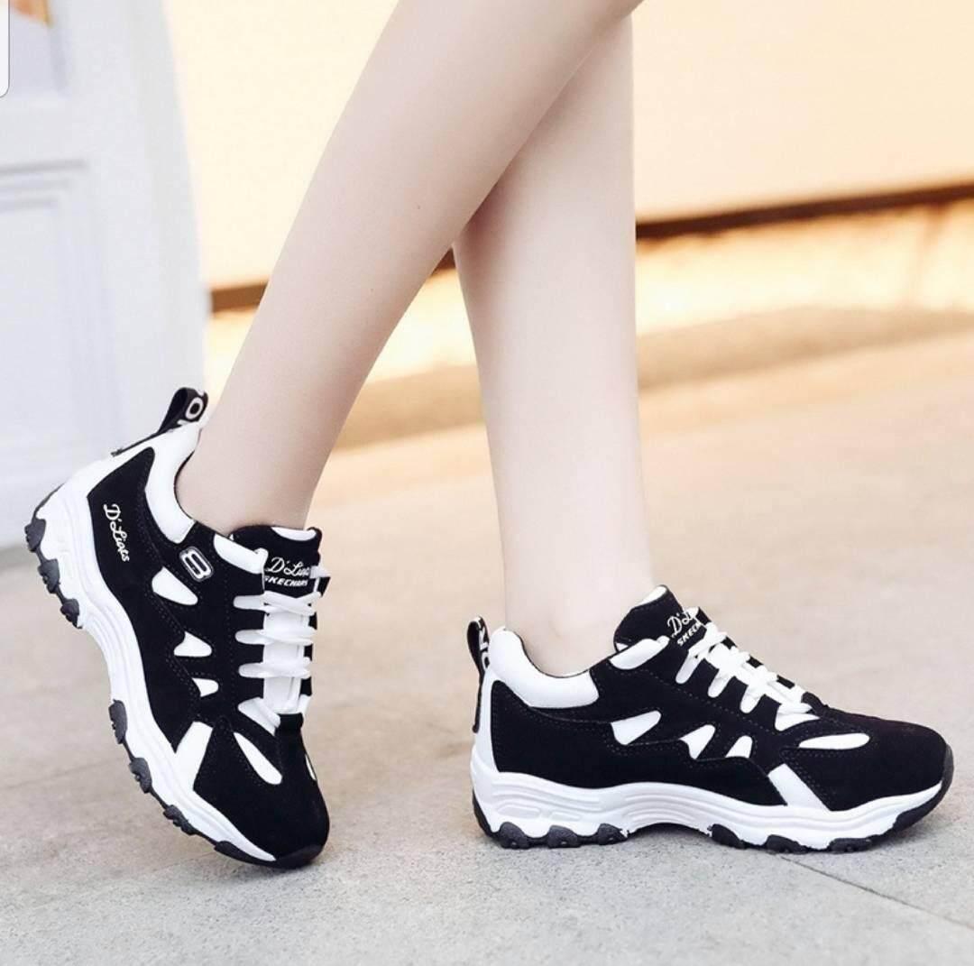 ***สำหรับผู้หญิง*** รองเท้ากีฬา สวมใส่สบาย ใส่ได้หลายโอกาส ***ใส่ออกกำลังกายได้***(สีดำ / สีดำ-ชมพู / สีดำ-ขาว ).