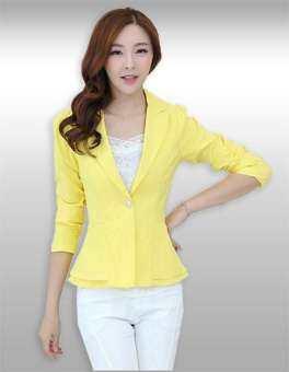 เสื้อสูทผู้หญิงแขนยาวสีเหลืองเอวระบาย รหัส2068