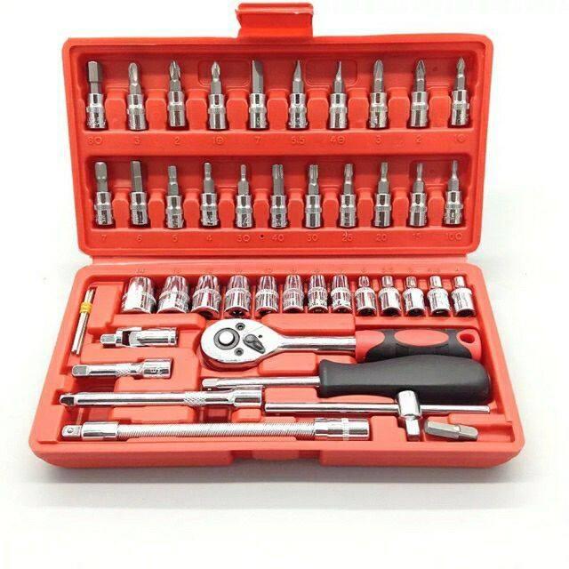 ชุดเครื่องมือประแจและบล็อค ขนาด 1/4 จำนวน 46 ชิ้น ชุดดอกไขควง ชุดบล็อค เครื่องมือช่าง.