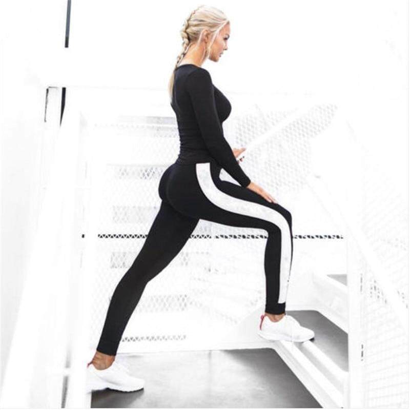 Fitness Women Leggings New Arrival Striped Slim Black Long Leggins Clothes Ladies Legging By I Fashion Bag.