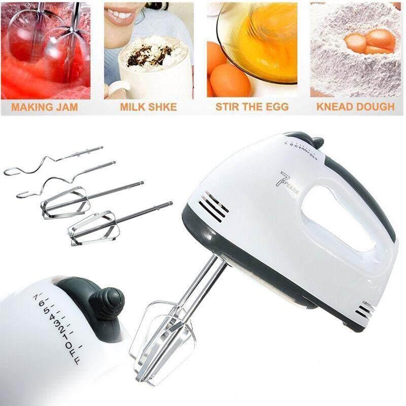 เครื่องปั่นผสมแป้งไฟฟ้า White Food Mixer เครื่องผสมอาหาร เครื่องตีแป้ง เครื่องตีไข่ เครื่องตีวิปครีม 7 Speeds 180W