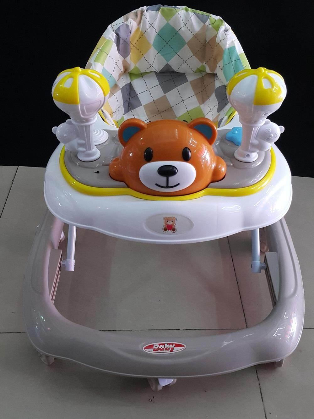 PP-POP รถหัดเดินหน้าหมีน้อย รุ่นมีขาตั้งล้อ ปรับสูงต่ำ 3 ระดับ มีเสียงเพลง พับเก็บได้ สีฟ้า ชมพู น้ำเงิน และเทา