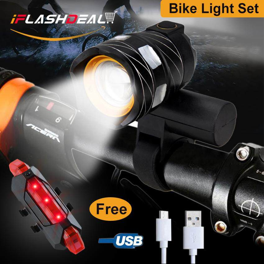 Power USB Rechargeable Bicycle LED Bike Light Headlight Taillight Set Rear Front