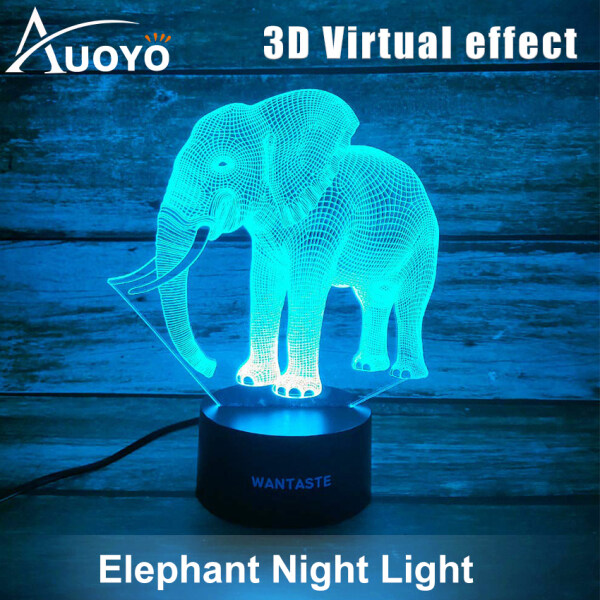 Auoyo Night Lights 3D Elephant Light for Kids 7 Colors Touch Table Desk Lamps LED Vision Illusion Lighting with USB Baby Bedroom Sleep Lamp Birthday Party Holiday Gifts for Children