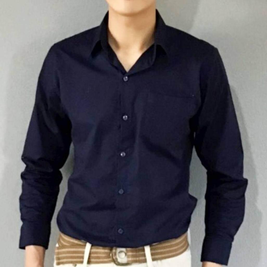 เสื้อเชิ้ตแขนยาวสีกรมท่าทรงตัวปล่อย สามารถใส่ได้ทั้งชายและหญิง(unisex) เนื้อผ้า Oxford เกรดพรีเมียมนำเข้าจากญี่ปุ่น(ถ่ายแบบจากสินค้าจริง) By Nathariya Shop.