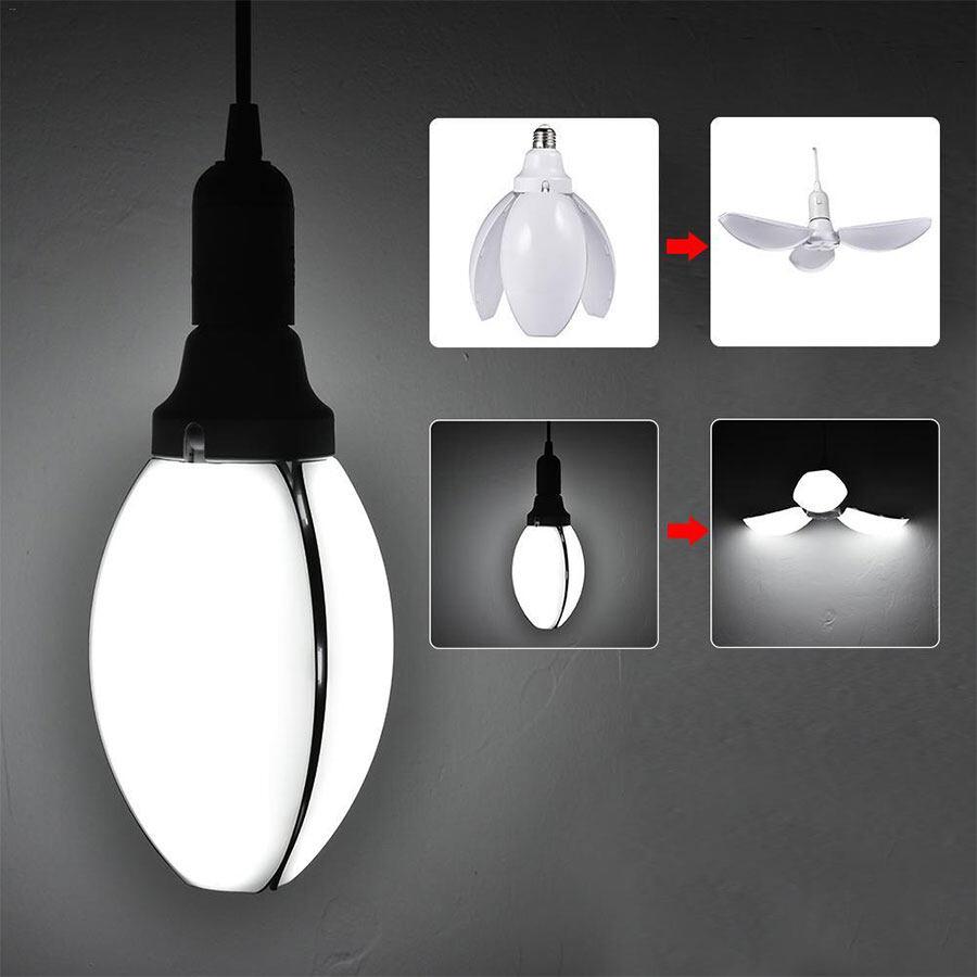 Aliz Tech หลอดไฟ Led ไฟled ทรงใบพัด พับได้ 45w E27 หลอดไฟ Led ดอกไม้ปรับ หลอดไฟ Led Petal Fan Blade Bulb Flower Lamp Adjustable.