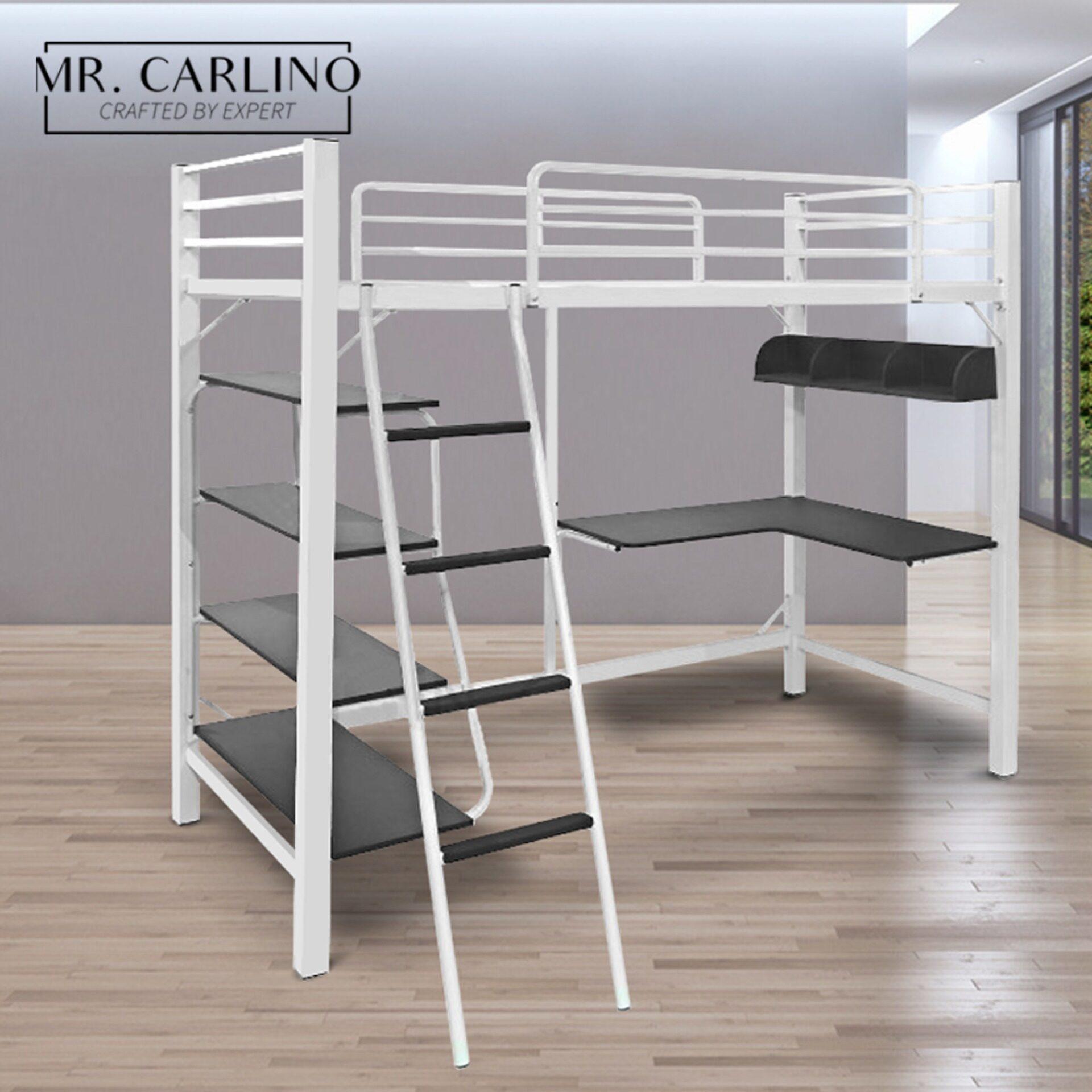 Mr.carlino : เตียง โครงเตียง ชั้นลอย มีชั้น2 เตียง โต๊ะ ชั้นวางของ คุณภาพดี (aloha Metal Loft Bed Frame) เตียงนอน.