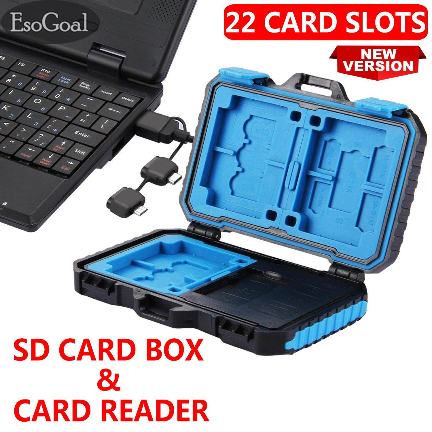 EsoGoal การ์ดรีดเดอร์+เมมโมรี่การ์ด Card Reader + Memory Card Case SD Card Storage Box Waterproof Shockproof Protection Micro SD Card Case Holder TF SD CF Cards Carrying Case Storage Box(22 Slots)