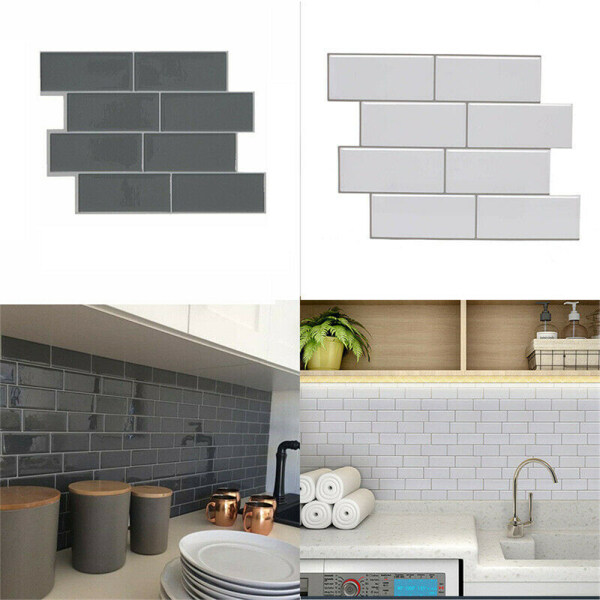 Waterproof Removable Kitchen Bathroom 3D Self Adhesive Subway Tile Peel And Stick Decal Wall Sticker Wallpaper