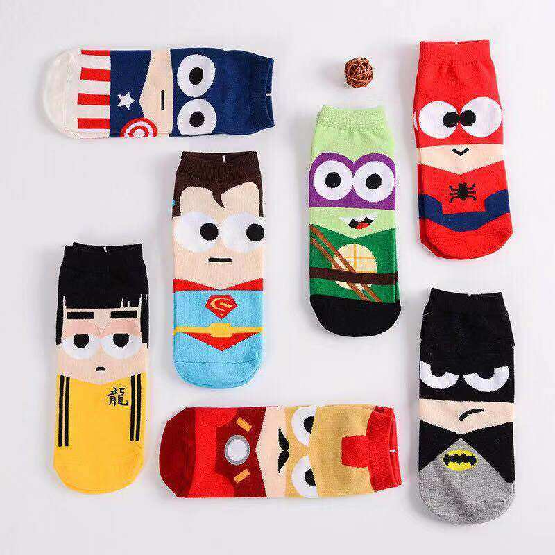 Marvel Socks ถุงเท้าผู้ชาย Spider-Man Captain America  (pack 7 คู่) ถุงเท้า ถุงเท้าข้อสั้น ถุงเท้าแฟชั่น.