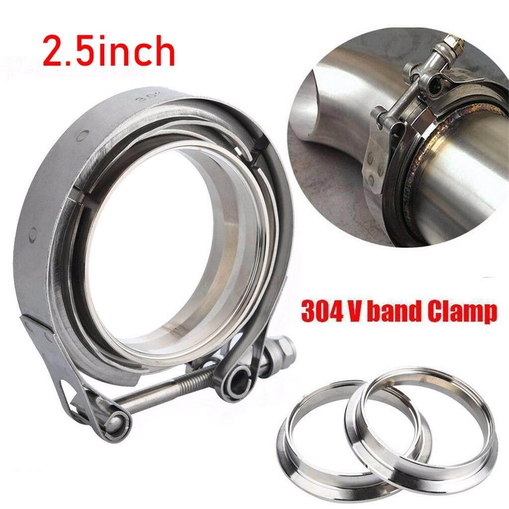 {LOONG @STORE}2.5 Inch SS304 V-Band Clamp Stainless Steel M/F 3 v band Turbo Exhaust Downpipe