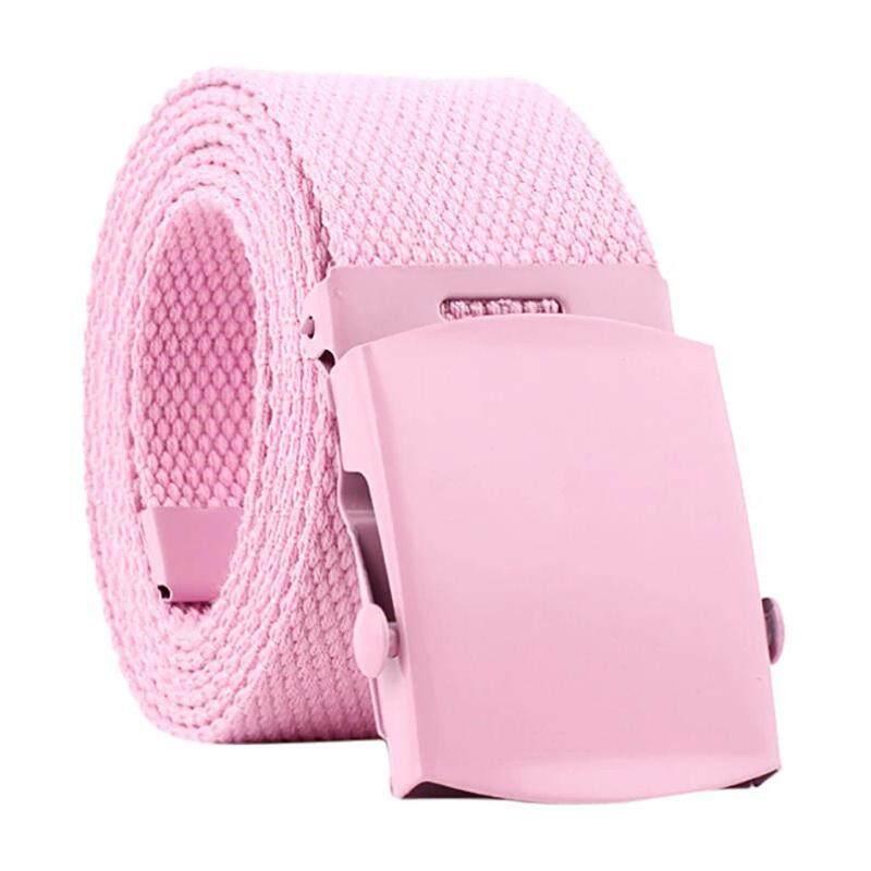 Beestyle เข็มขัด เข็มขัดผ้าแคนวาส เข็มขัดแฟชั่นคุณภาพสูง High Quality Unisex Fashion Canvas Belt No. 2400 สีชมพู.