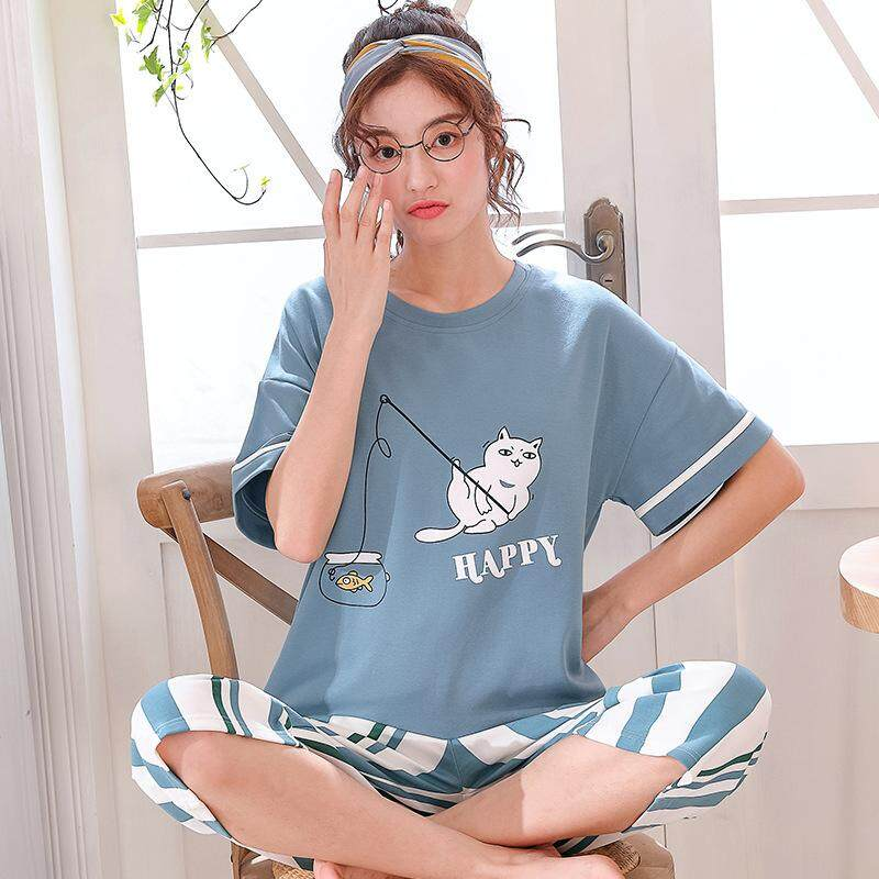 3c00721920 2pcs Women Short Sleeved Tops + Cropped Trousers Pajamas Home Wear