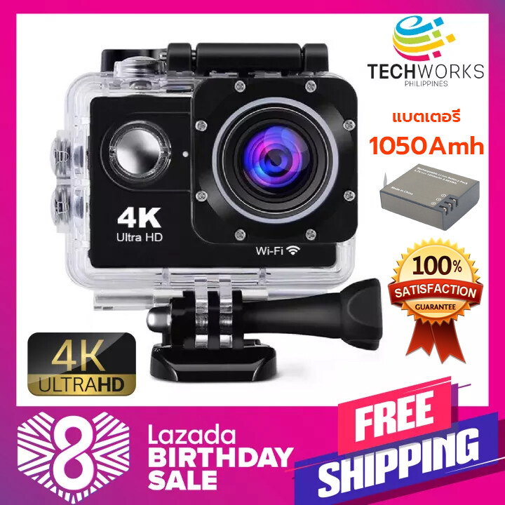 กล้องติดหมวก (แบตเตอรี่1050mah) กล้องแอคชันแคม ถ่ายใต้น้ำ Hd 4k Wireless กล้องกันน้ำ Action Camera กล้องแอ็คชั่น กันน้ำ.