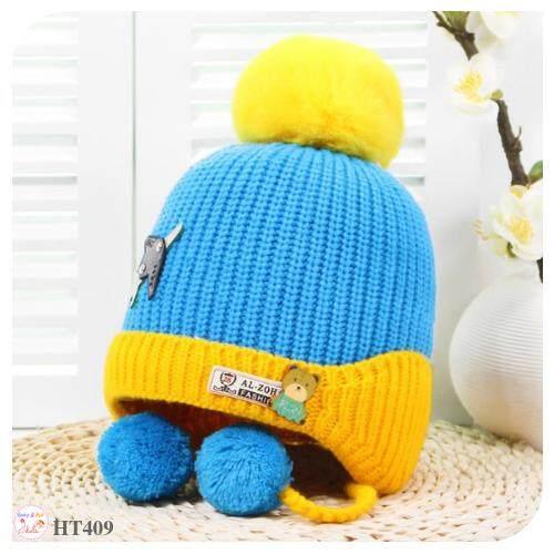 หมวกเด็กไหมพรม แต่งหน้าหมีน้อย และปอมๆ  ด้านในบุกำมะหยี่นิ่ม (3 เดือน - 2 ขวบ).