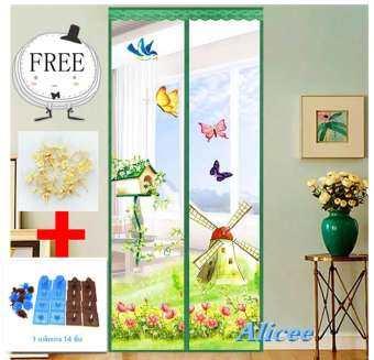 Alicee ม่านแม่เหล็กกันยุง ม่านติดประตู ม่านติดหน้าต่าง Magic Mesh 90*210/สีลมรูปร่างกราฟฟิค  Free หมุดเทปกาว 2 หน้า-