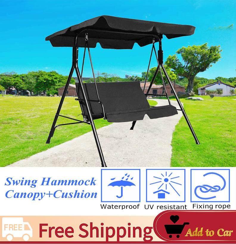 【Free Shipping】Patio เปลญวนแกว่งหลังคาเปลญวน Cushioned เหล็กโครงเหล็กม้านั่งเฟอร์นิเจอร์ลานสวน - INTL