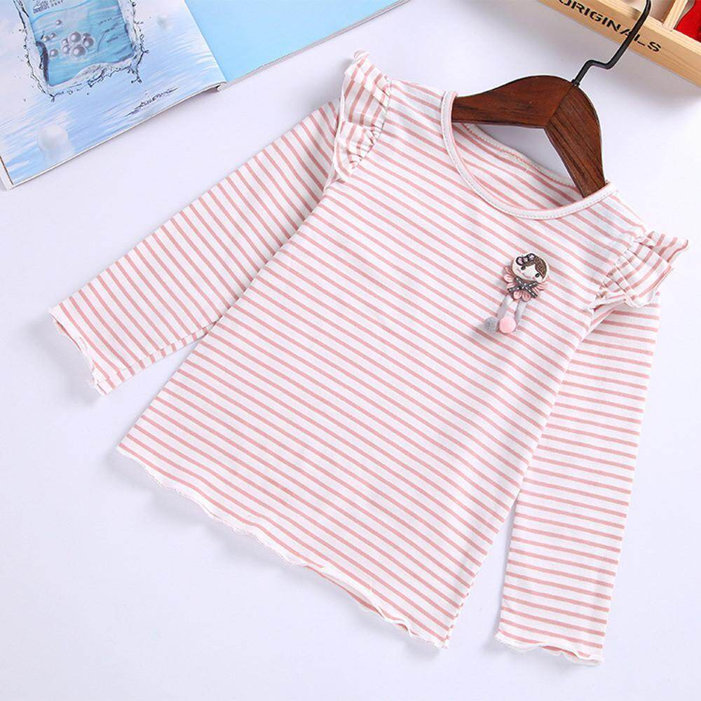 Free Shipping Lawsonshop Todder Kids Baby Girls Striped Cartoon Tops Ruffles T Shirt Clothes Outfits By Lawsonshop.