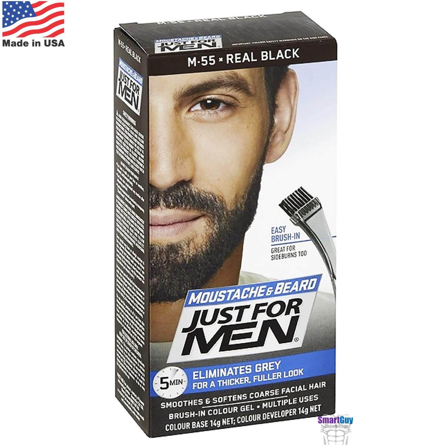 Just For Men Moustache & Beard M55 Real Black 14g. ครีมเปลี่ยนสีหนวดเคราคิ้วสำหรับผู้ชาย สินค้านำเข้าจากสหรัฐอเมริกา สีดำธรรมชาติ.