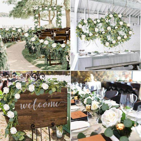 Eucalyptus Garland (8 Pcs White Roses Among Eucalyptus Leaves), Flower Garland for Wedding Arch Backdrop Decor, Table Runner, Banquet, Home Decor, Hanging Vine Rose Decoration