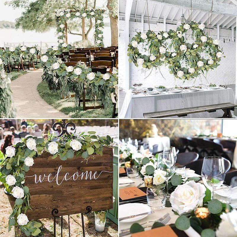 Eucalyptus Garland (8 Pcs White Roses Among Eucalyptus Leaves), Flower Garland for Wedding Arch Backdrop Decor, Table Runner, Banquet, Home Decor, Hanging Vine Rose Decoration