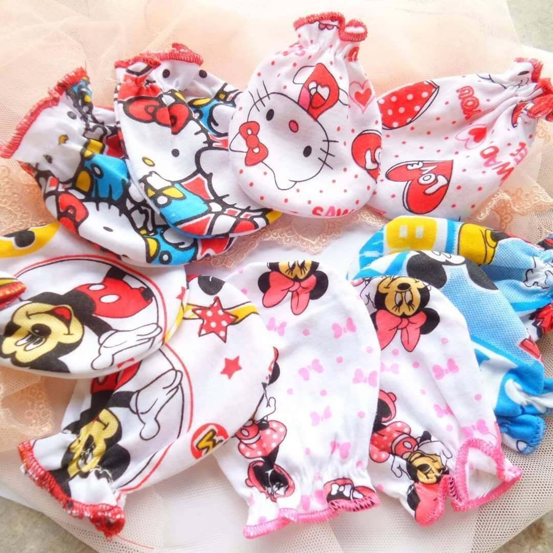 ถุงมือเด็กแรกเกิดผ้าคอตตอนนิ่ม สวมใส่สบาย(จัดคละลาย-สี-ระบุชาย/ญ) (แพ็ค 10 คู่ ).