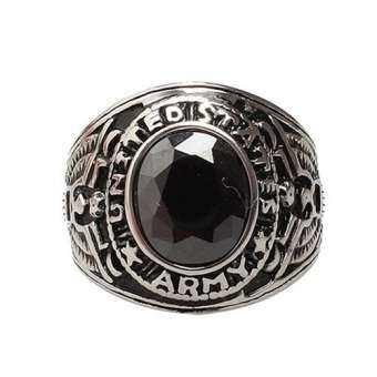 Phoenix B2C ผู้ชายผู้หญิงพัตเตอร์ไทเทเนียมเหล็กวงแหวนพลอยเทียมเครื่องประดับนิ้วมือเสน่ห์ 8 (สีดำ) - นานาชาติ-