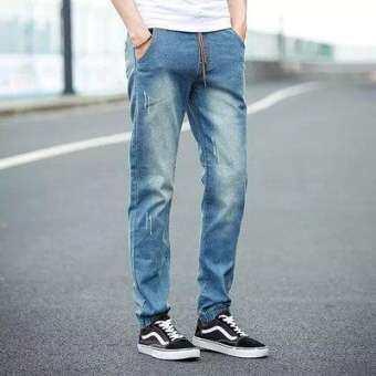 กางเกงยีนส์ ขาจั๊ม แต่งขาดเล็กน้อย เอวยางยืดสีเข้ม และสีอ่อน (M-XXL ) #9005-