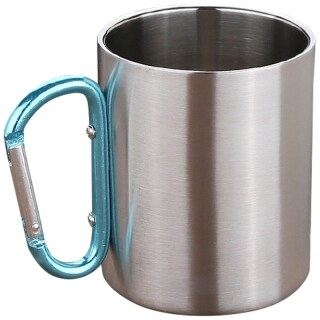 350ML Isolating Travel Mug Double Wall Stainless Steel Outdoor Children Cup Carabiner Hook Handle Heat Resistance thumbnail