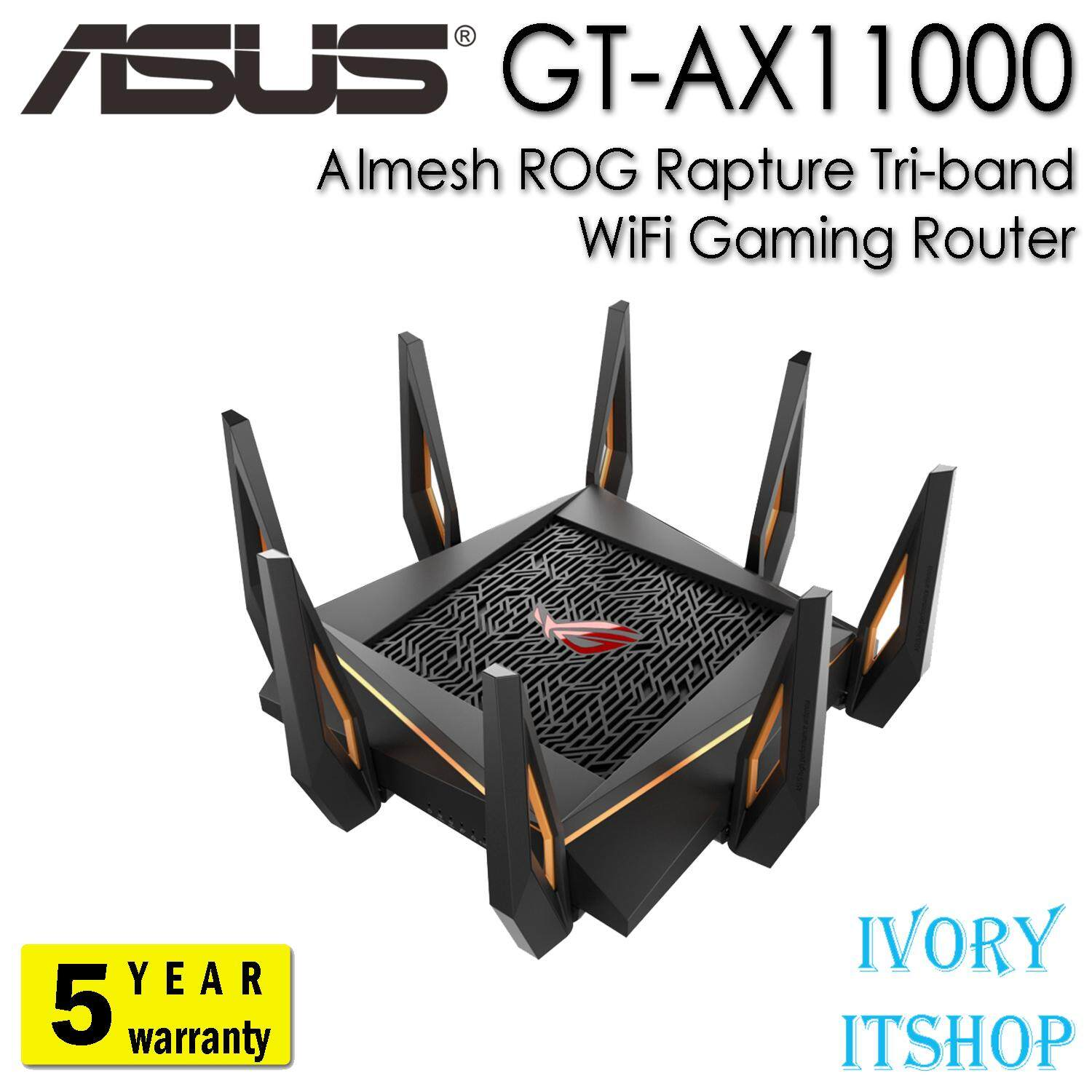 Asus Gt-Ax11000 Aimesh Rog Rapture Tri-Band Wifi Ax11000 Gaming Router/ivoryitshop.