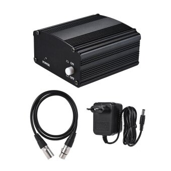 1-Channel 48V Phantom Power Supply with AdapterXLR Male to XLR Female Audio Cable for Condenser Microphone Studio Music Recording Broadcasting Equipment - intl