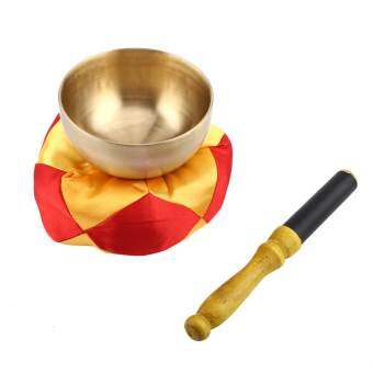 1 เซ็ตทิเบตการทำสมาธิทางพุทธศาสนาชามทองเหลือง Stick Cushion CRAFT - INTL-