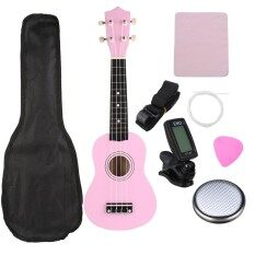 21 Soprano Basswood Ukulele กีตาร์ฮาวายอูเค Pink Musical Instrumen กระเป๋าจูนเนอร์ - Intl.