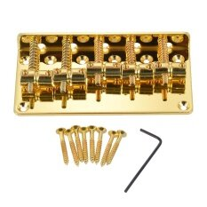 ขาย ซื้อ ออนไลน์ 5 Saddle Bridge Set For 5 String Electric Bass Guitar Part Replacement Golden Outdoorfree Intl