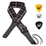 ราคา Adjustable Soft Guitar Shoulder Strap Cotton Linen Woven Belt Leather Ends With Small Pocket 3Pcs Guitar Picks For Acoustic Folk Classic Electric Guitars Bass Intl Unbranded Generic เป็นต้นฉบับ