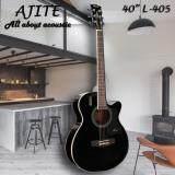 ราคา Ajite Guitar กีต้าร์โปร่ง 40 นิ้ว ไม้อย่างดี หน้า Spruce ข้าง หลัง Sapeli รุ่น L405 สีดำ ที่สุด