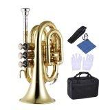 ทบทวน Ammoon Mini Pocket Trumpet Bb Flat Brass Wind Instrument With Mouthpiece Gloves Cleaning Cloth Carrying Case Intl