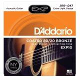 โปรโมชั่น D Addario สายกีต้าร์โปร่งแบบเคลือบ Bronze Coated 80 20 Bronze Extra Light 10 47 รุ่น Exp10 ถูก