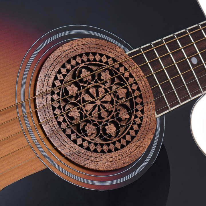 ราคา Guitar Wooden Soundhole Sound Hole Cover Block Feedback Buffer Mahogany Wood for EQ Acoustic Folk