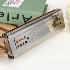 Hot Swan 24 หลุมคู่คีย์ C & G Tremolo Tuned Harmonica Sw24-12 Silver.