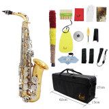 ขาย Lade Altoแซ็กโซโฟนแซ็กโซโฟนเLade Alto Saxophone Sax Glossy Brass Engraved Eb E Flat Natural White Shell Button Wind Instrument With Case Mute Gloves Cleaning Cloth Belt Brush ฮ่องกง