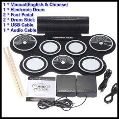 ขาย ซื้อ ออนไลน์ Portable Foldable Silicone Electronic Drum Pad Kit Digital Usb Midi Roll Up With 2 Drumstick 2 Foot Pedal 3 5Mm Audio Cable For Kids Intl