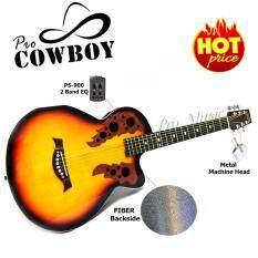 ราคา Pro Cowboy กีต้าร์โปร่งไฟฟ้า หลังเต่า ทรง Ovation ขนาด 39 รุ่น Pc 39 สีซันเบิร์ท ถูก