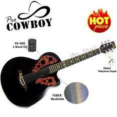 โปรโมชั่น Pro Cowboy กีต้าร์โปร่งไฟฟ้า หลังเต่าไฟเบอร์ ทรง Ovation ขนาด 39 รุ่น Pc 39 สีดำ Pro Music