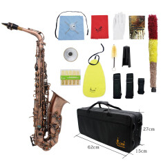 Professional Red Bronze Bend Eb E Flat Alto Saxophone Sax Abalone Shell Key Carve Pattern With Case Gloves Cleaning Cloth Straps Brush เป็นต้นฉบับ
