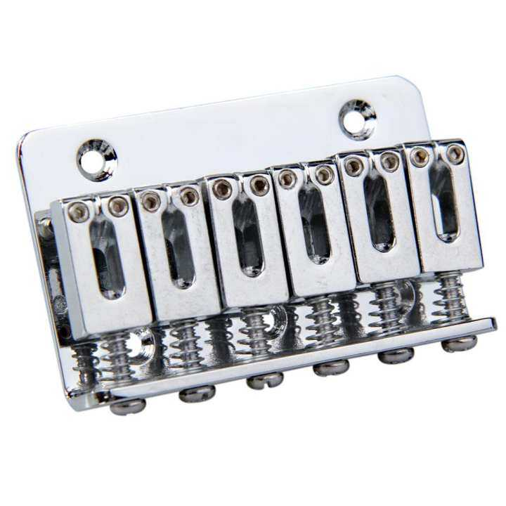 ... ราคา Silver 6 Saddle Hardtail Bridge Top Load 65mm Electric Guitar Bridge (Intl)