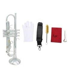 ราคา Trumpet Bb B Flat Silver Plated Brass Exquisite With Mouthpiece Cleaning Brush Cloth Gloves Strap Intl เป็นต้นฉบับ